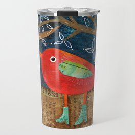 Red Bird in Galoshes Travel Mug