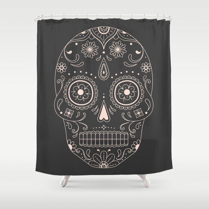 Sugar Skull Shower Curtain By Naylasmith