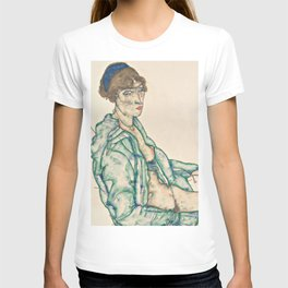 "Egon Schiele ""Sitting Semi-Nude with Blue Hairband"" T-shirt"