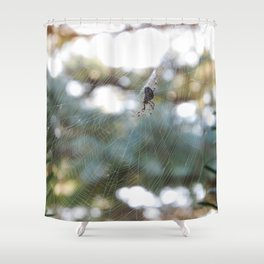 orb weaver spider in autumn bokeh Shower Curtain