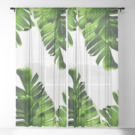 Green banana leaf Sheer Curtain