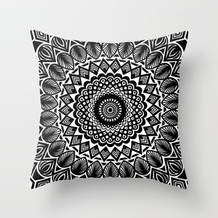 Detailed Black and White Mandala Throw Pillow