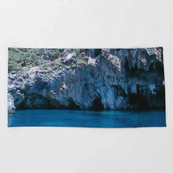 NATURE'S WONDER #4 - BLUE GROTTO #art #society6 Beach Towel