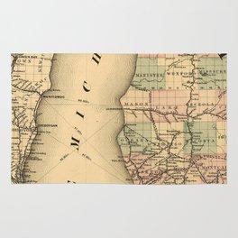 Vintage Map of Lake Michigan (1876) Rug