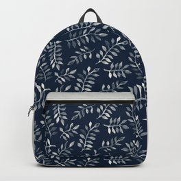 White Leaves on Navy - a hand painted pattern Backpack