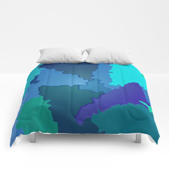 Blues and Greens Puzzle Patchwork Comforters