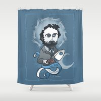 writer Shower Curtains featuring Jules Verne Holy Writer by roberto lanznaster