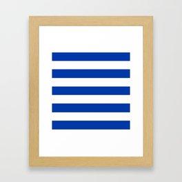 Philippine blue - solid color - white stripes pattern Framed Art Print