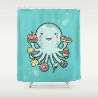 dessert Shower Curtains featuring Room for Dessert? by littleclyde