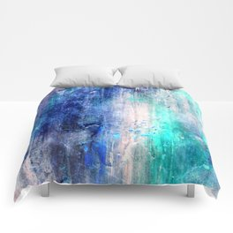Winter Abstract Acrylic Textured Painting Comforters