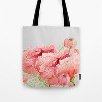 craftberrybush Tote Bags featuring Pink peonies in blue jar by craftberrybush