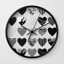 Metallic Love - Hexagon, stripes, triangles, geometric, marble, paint splat hearts! Wall Clock