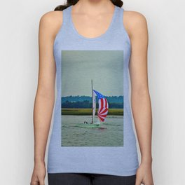 US Flag Sailboat Unisex Tank Top