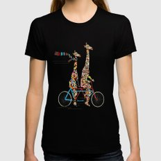 giraffe days lets tandem Black LARGE Womens Fitted Tee