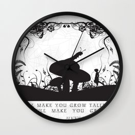 Alice's Adventures In Wonderland Black and White Illustrated Quote Wall Clock