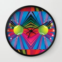 Tennis ball with rackets Wall Clock