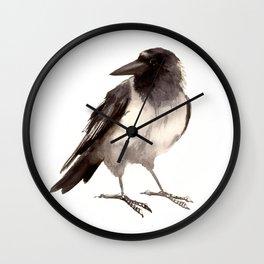 Crow decor, hooded crow art Wall Clock