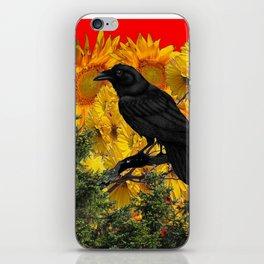 CROW & SUNFLOWERS WILDERNESS RED ART iPhone Skin