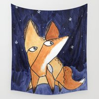 picasso Wall Tapestries featuring Picasso Fox by Agnes in Wonderland