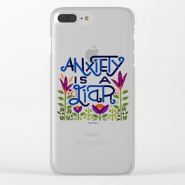 anxiety is A Liar (deep blue) Clear iPhone Case