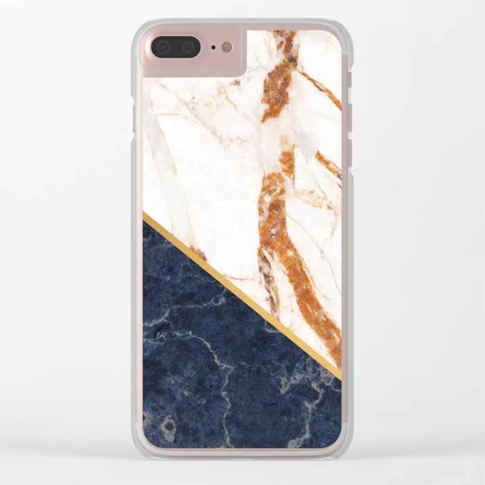 Classy Elegant White Blue Gold Marble Clear iPhone Case