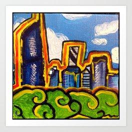 Brisbane City Landscape Painting - View from Kangaroo Point Art Print