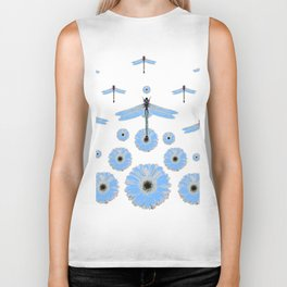 SURREAL WHITE-BLUE DRAGONFLIES FLOWERS ART Biker Tank
