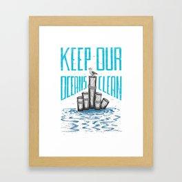 Keep Our Oceans Clean Framed Art Print
