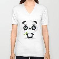 panda V-neck T-shirts featuring Panda by Maria Jose Da Luz