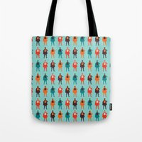 heroes Tote Bags featuring Heroes by Tomas Hudolin