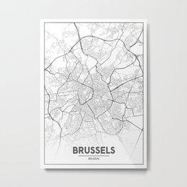 Minimal City Maps - Map Of Brussels, Belgium. Metal Print