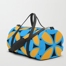 Geometric Floral Circles In Bold Turquoise Gold & Black Duffle Bag