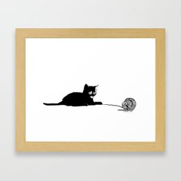 Black cat with ball Framed Art Print