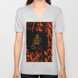 Breathing in Red Fire Unisex V-Neck