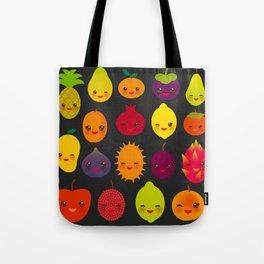 kawaii fruit Pear Mangosteen tangerine pineapple papaya persimmon pomegranate lime Tote Bag