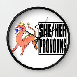 She her pronouns mons Wall Clock
