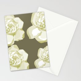 Brown,White Roses Stationery Cards