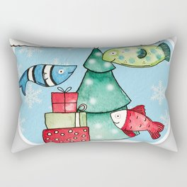 Christmas Fishes Rectangular Pillow