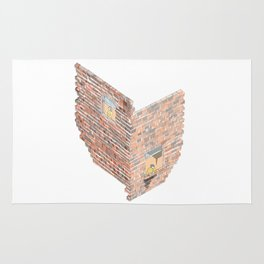 2 dimensions of separation - brick neighbour lovers Rug