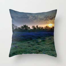 Texas Bluebonnets by the Pond at Sunrise Throw Pillow