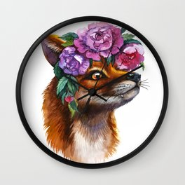 Red Fox and Peonies Wall Clock
