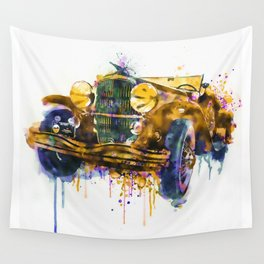 Oldtimer Automobile Watercolor Painting Wall Tapestry