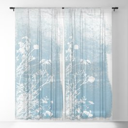 Shadow of wild flowers on a blue watercolor wall Sheer Curtain