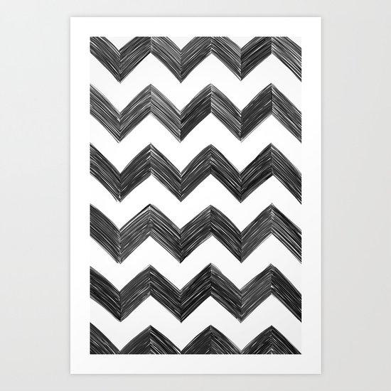 Classic Chevrons in Black Art Print