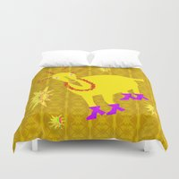 goat Duvet Covers featuring Golden Goat by Vitta