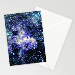 Violet Teal Turquoise Sparkle Stars Stationery Cards