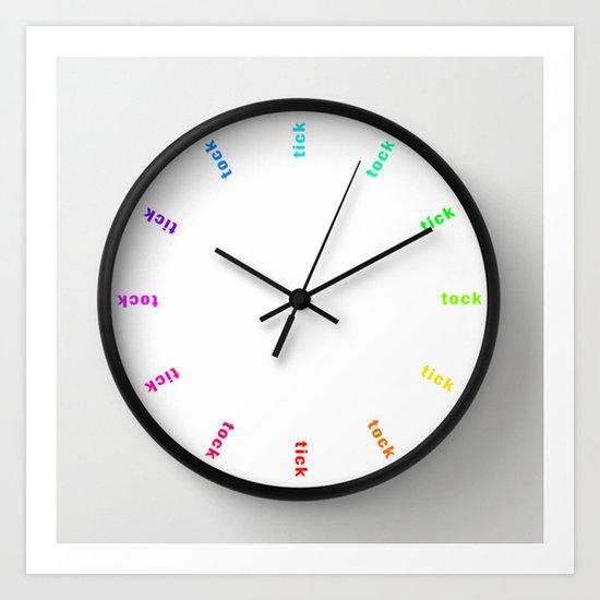clock tick tock ~ colored ~ white Art Print