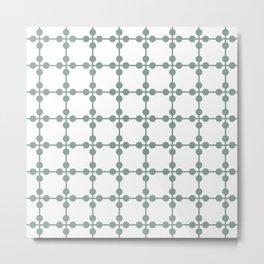 Droplets Pattern - Sage Green & White Metal Print