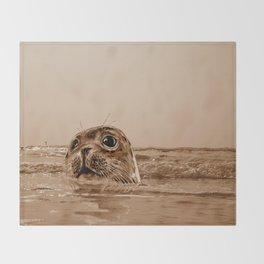 The SEAL - sepia 17 Throw Blanket