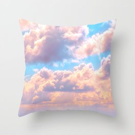 Beautiful Pink Cotton Candy Clouds Against Baby Blue Sky Fairytale Magical Sky Throw Pillow